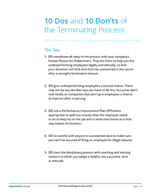 10 Dos and 10 Don'ts of the Terminating Process