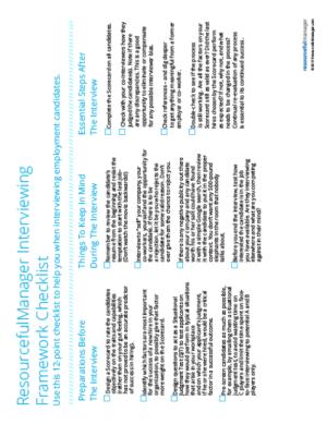 Interviewing Framework Checklist