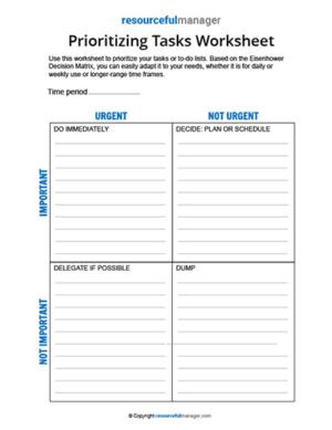 Prioritizing Tasks Worksheet