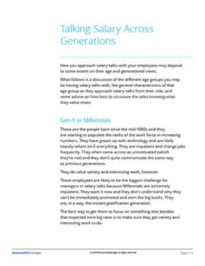Talking Salary Across Generations