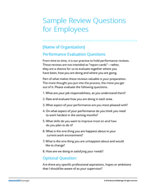 Sample Performance Review Questions for Employees