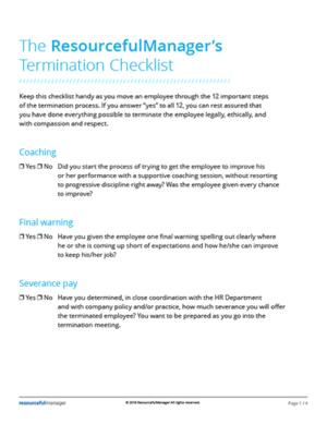 The ResourcefulManager's Termination Checklist