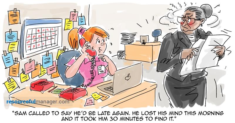 Sam is late again cartoon